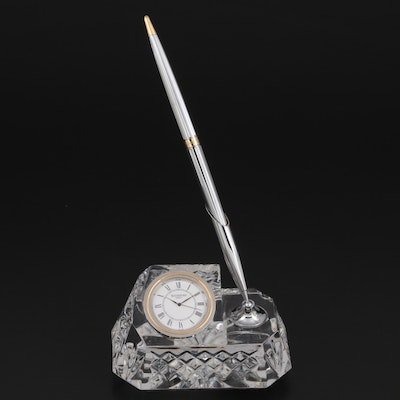 """Waterford Crystal """"Westover"""" Desk Clock and Pen Holder"""