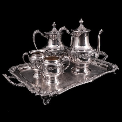 Sheridan Silver Co. Gadroon and Shell Silver Plate Five-Piece Tea and Coffee Set