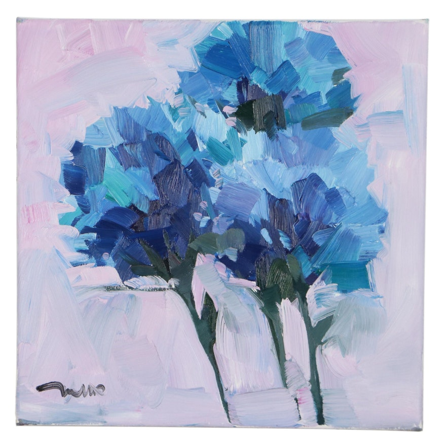 "Jose Trujillo Oil Painting ""Blue Beauties,"" 2021"