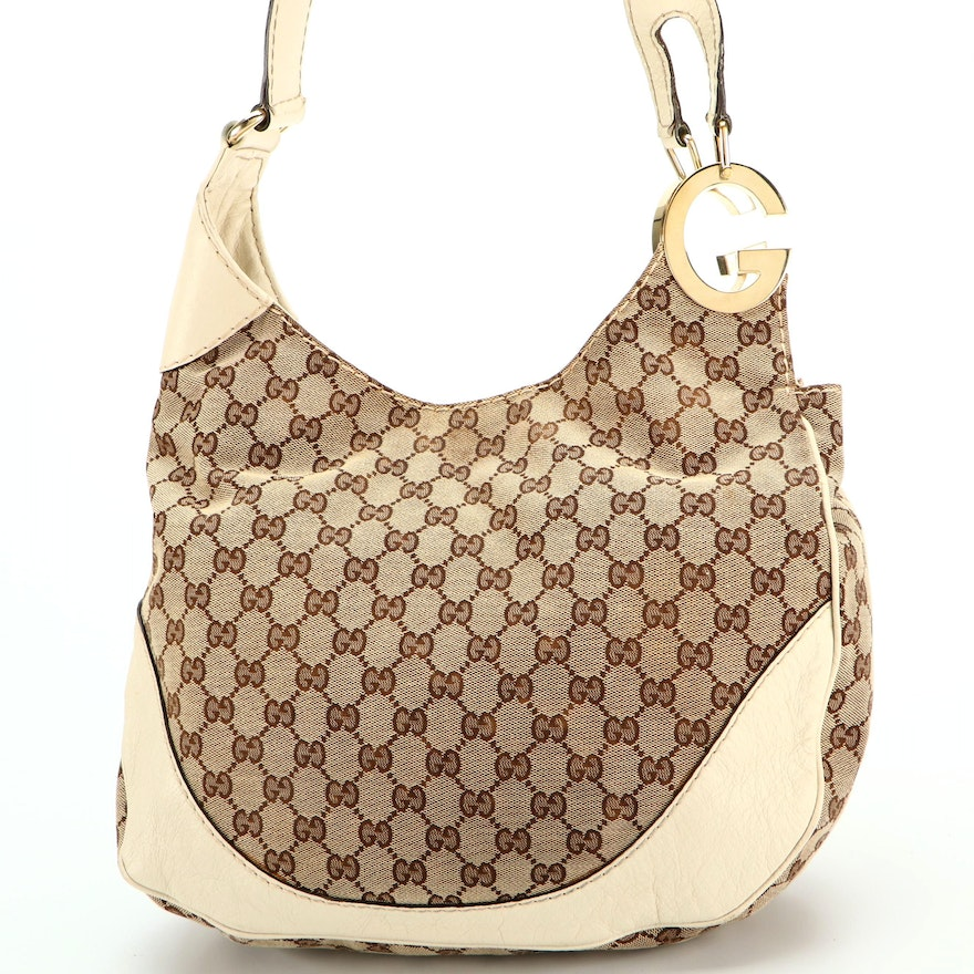 Gucci GG Canvas and Leather Logo Shoulder Bag