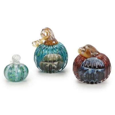 Andy Hudson Handblown Art Glass Pumpkin Figurines, 2020