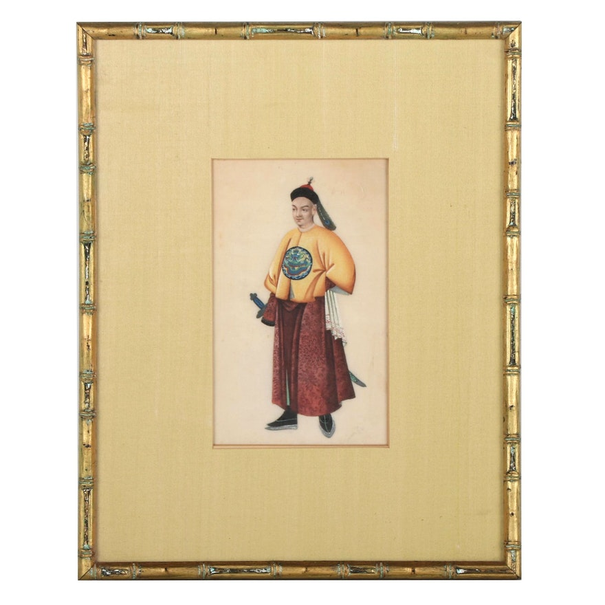 Chinese Figural Gouache Painting, 20th Century
