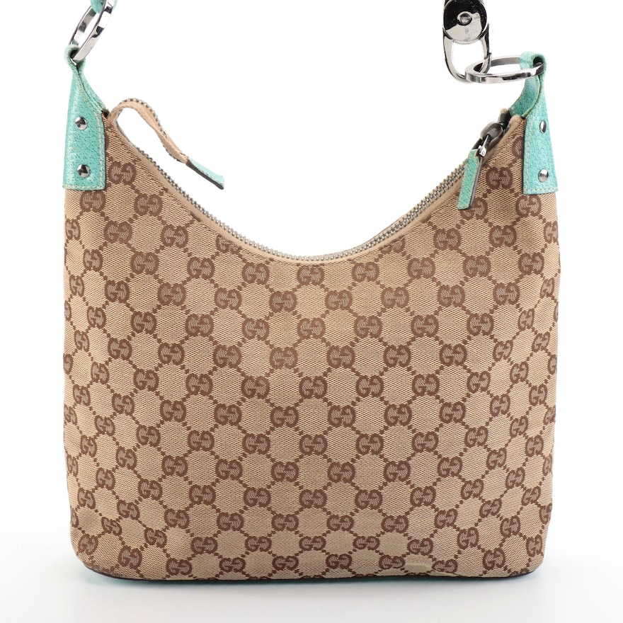 Gucci GG Canvas and Turquoise Blue Leather Shoulder Bag
