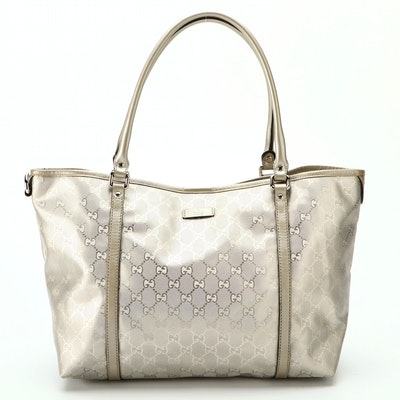 Gucci GG Metallic Coated Canvas and Leather Tote