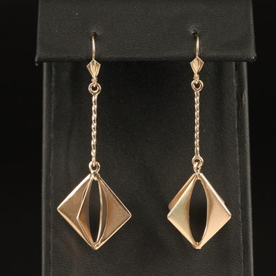 10K Geometric Drop Earrings