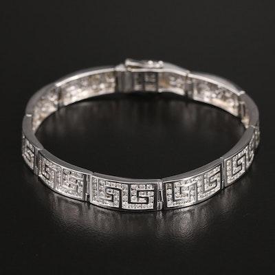 14K 5.00 CTW Diamond Greek Key Panel Bracelet