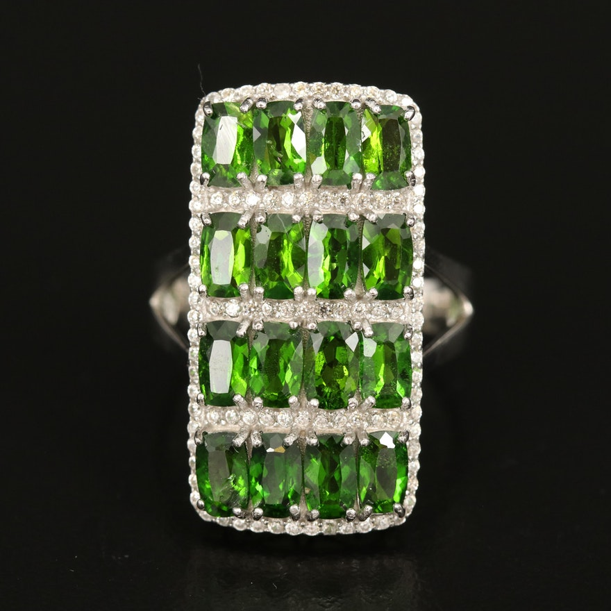 Sterling Diopside and Zircon Ring