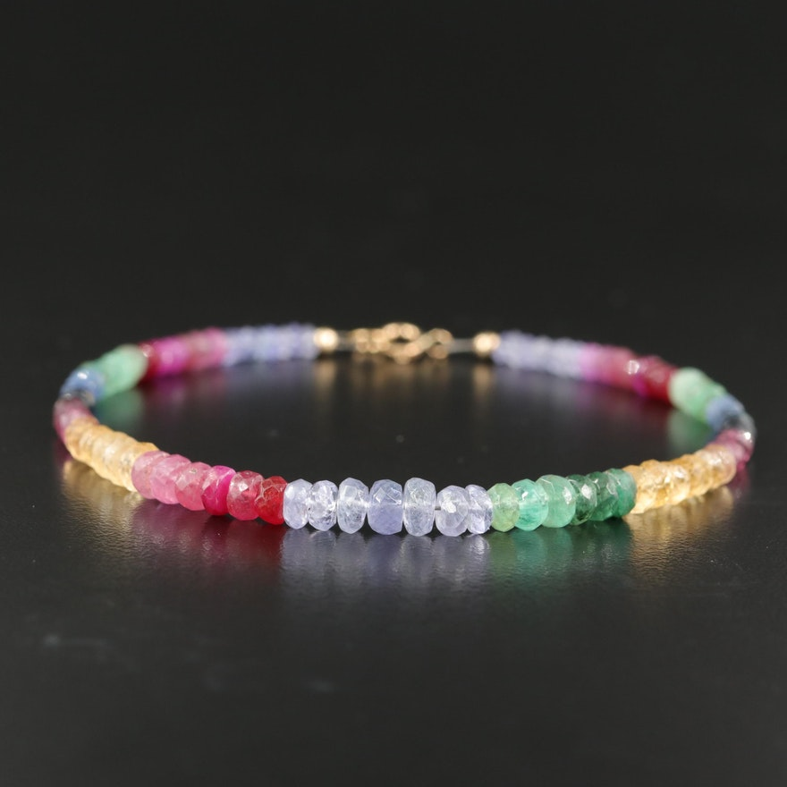 18K  Tanzanite, Citrine, Ruby and Emerald Graduated Bracelet