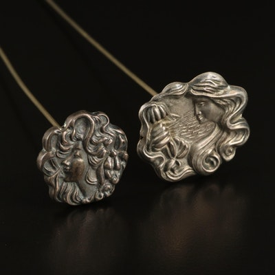 Art Nouveau Hat Pins with Sterling