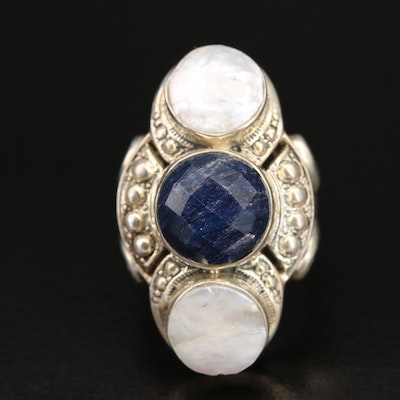 Nicky Butler Sterling Corundum and Pearl Ring