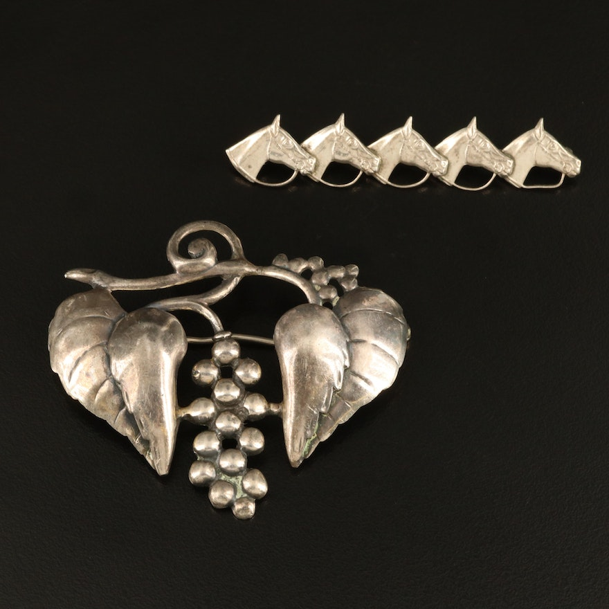 Vintage Walter Lampl Sterling Silver Brooch and Equestrian Pin