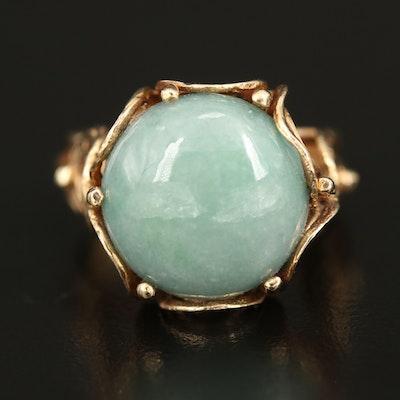 14K Jadeite Ring with Circle Pattern