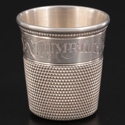 """Sterling Silver """"Only A Thimble Full"""" Jigger, Early 20th Century"""