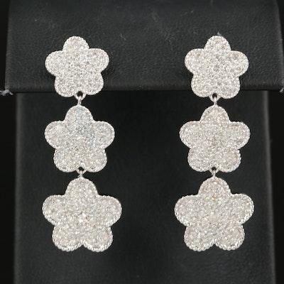 14K 2.57 CTW Pavé Diamond Graduated Cinquefoil Drop Earrings