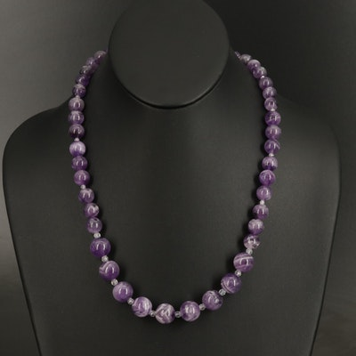 Amethyst and Topaz Graduated Bead Necklace with Sterling Clasp