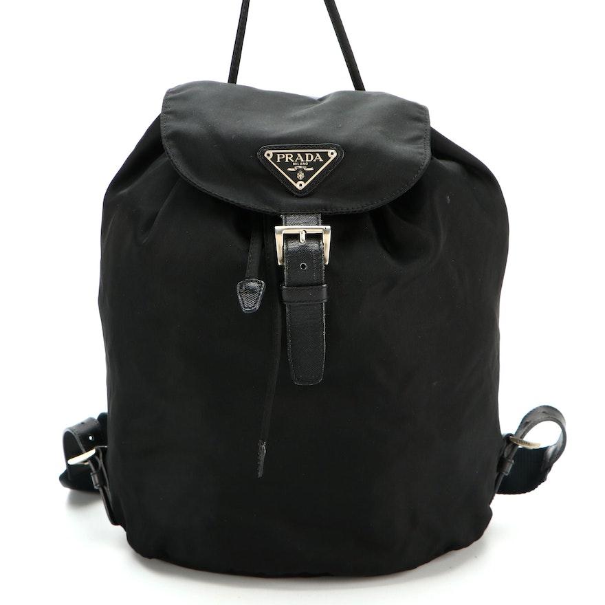 Prada Drawstring Backpack in Black Tessuto Nylon and Saffiano Leather