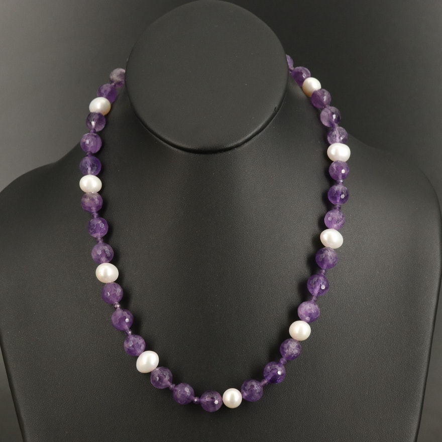 Amethyst and Pearl Beaded Necklace with 18K Findings