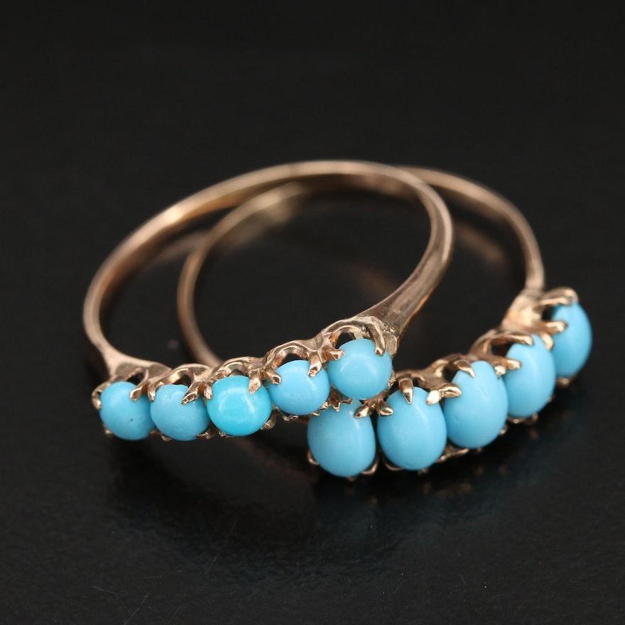 Vintage 10K Imitation Turquoise Rings