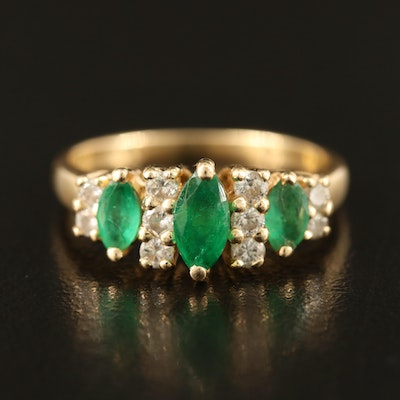 14K Emerald and Diamond Stepped Ring