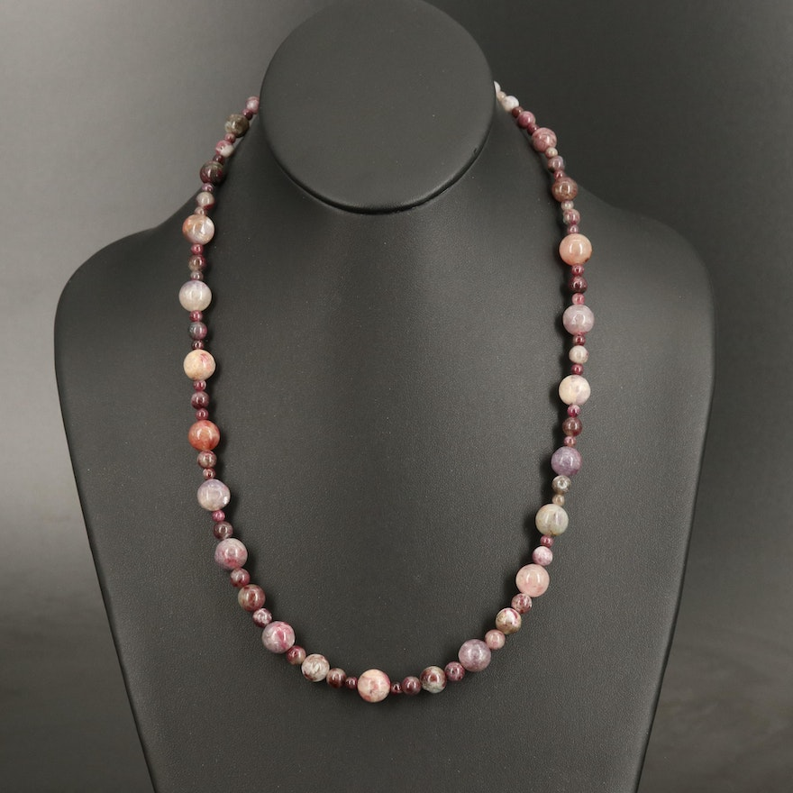 Tourmaline Beaded Necklace with 14K Clasp