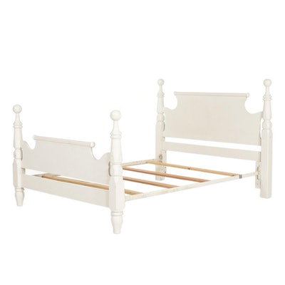 White-Painted Cannonball Style Full Size Bed Frame, Mid to Late 20th Century