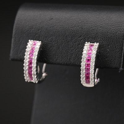 14K Ruby and Diamond J Hoop Earrings
