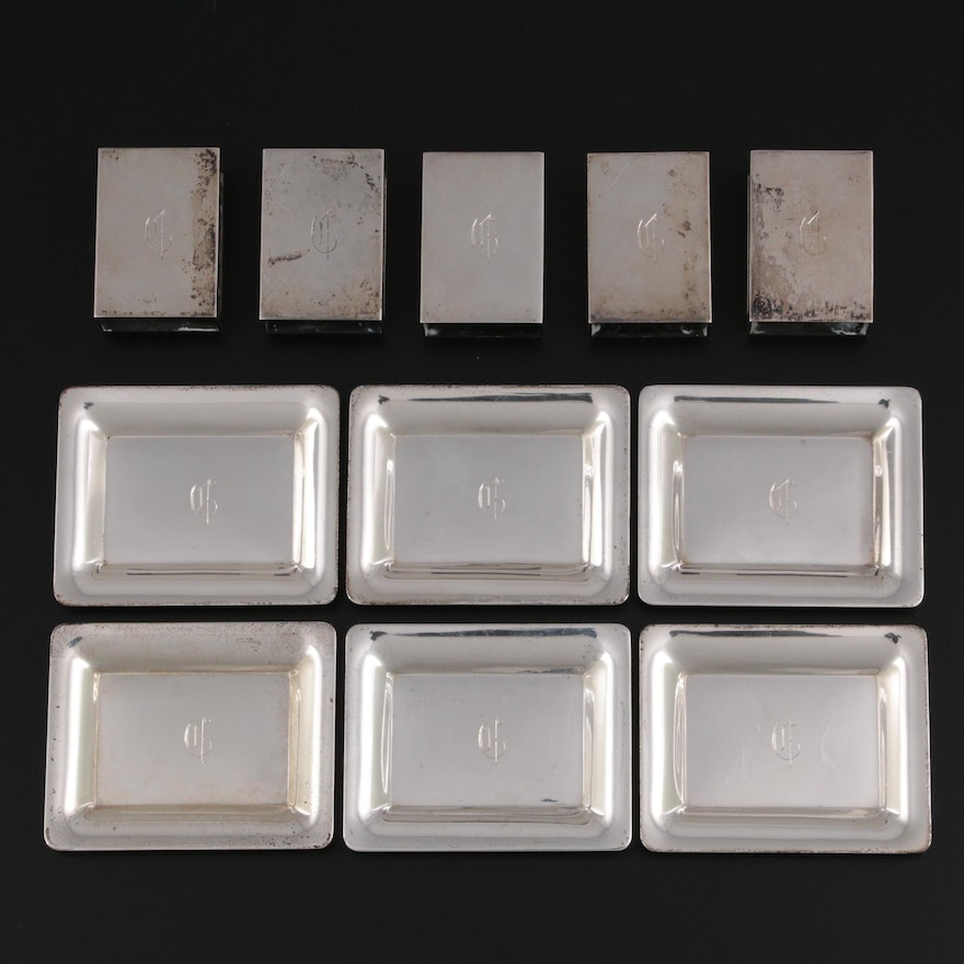 S. Kirk & Son Sterling Silver Butter Pats and Match Box Holders