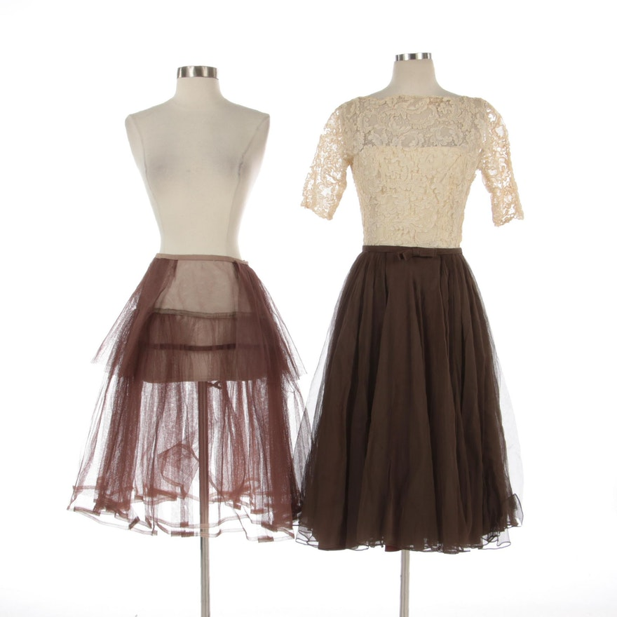 Harvey Berin Silk Lace and Organza Dress with Tulle Petticoat, circa 1960