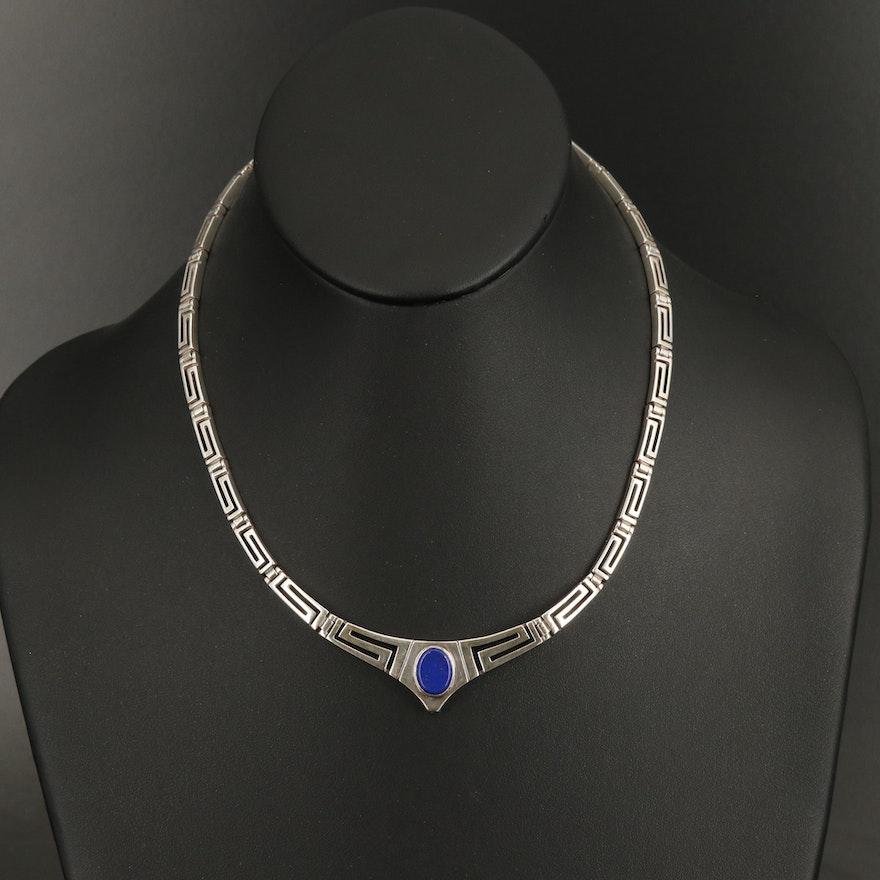 Sterling Silver Faux Lapis Lazuli Greek Key Necklace