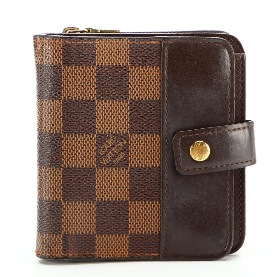 Louis Vuitton Compact Zip Wallet in Damier Ebene Coated Canvas