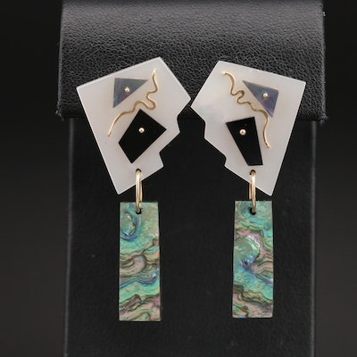 Signed L Apodaca 14K Abalone, Black Onyx and Mother of Pearl Earrings