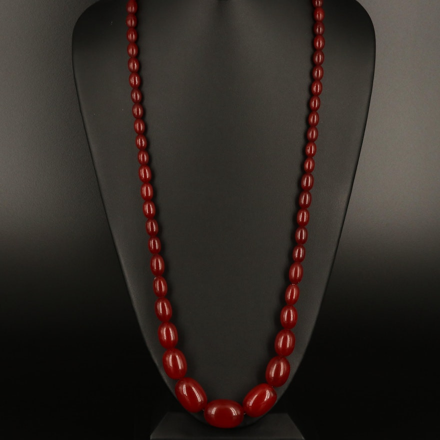 Graduated Oval Bead Necklace