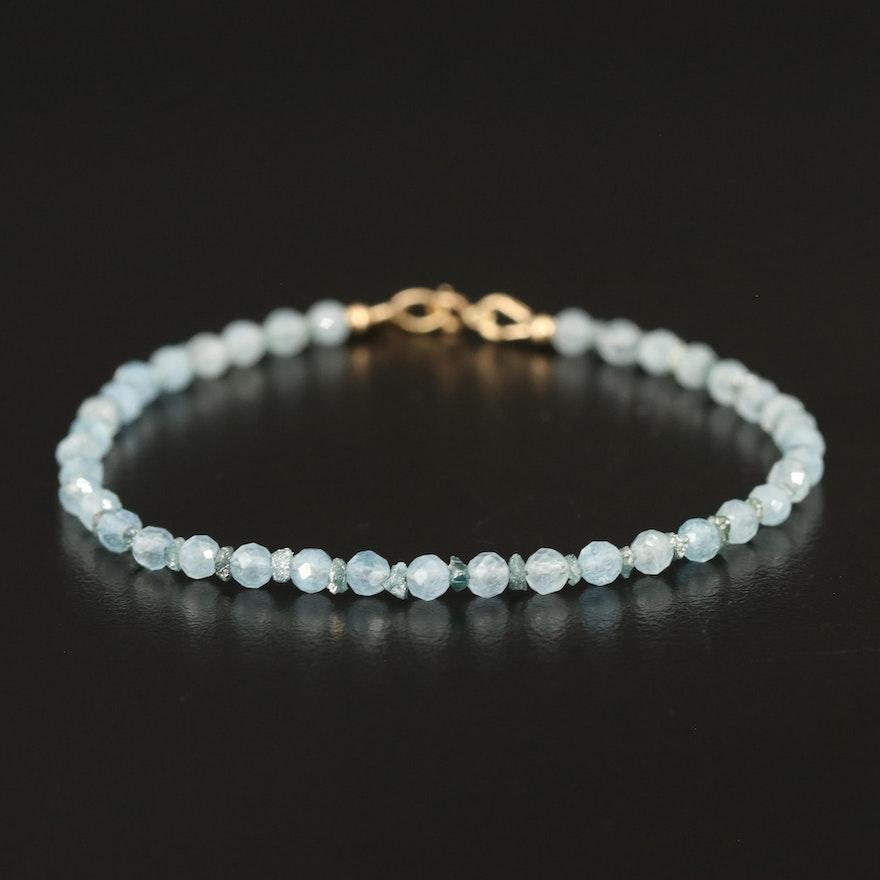 14K Aquamarine and Diamond Beaded Bracelet
