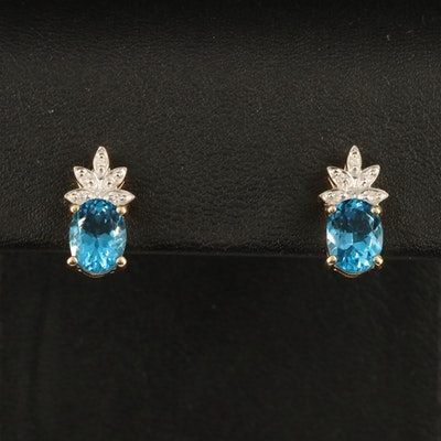 14K London Blue Topaz and Diamond Earrings