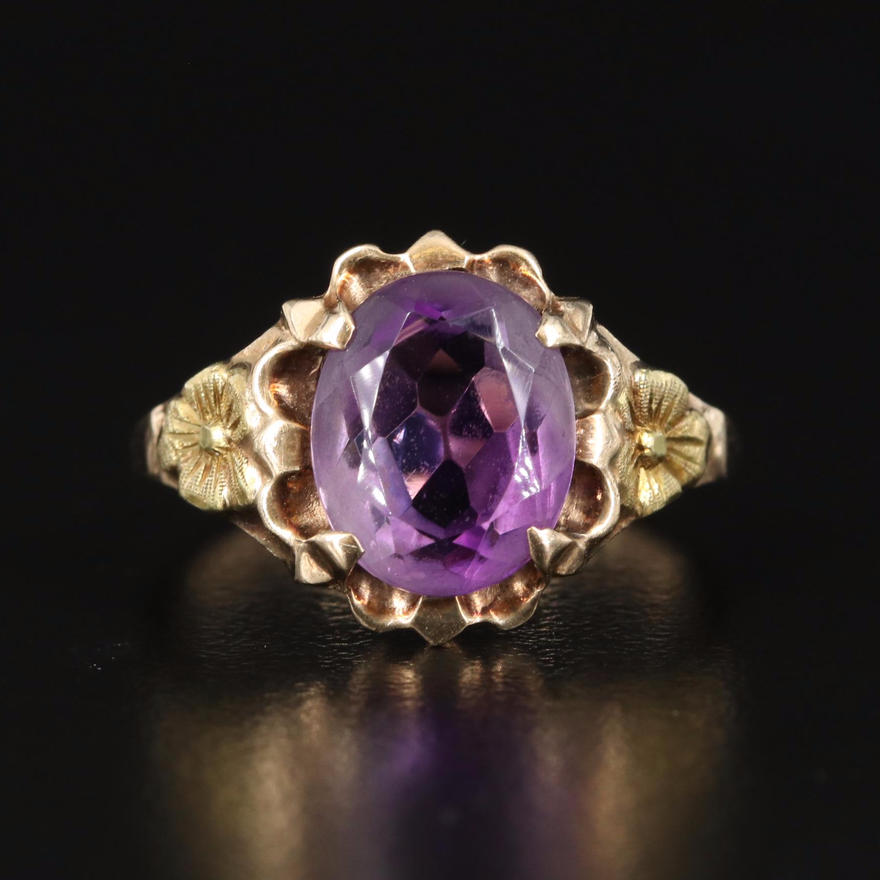 10K Amethyst Ring with Floral Shoulders