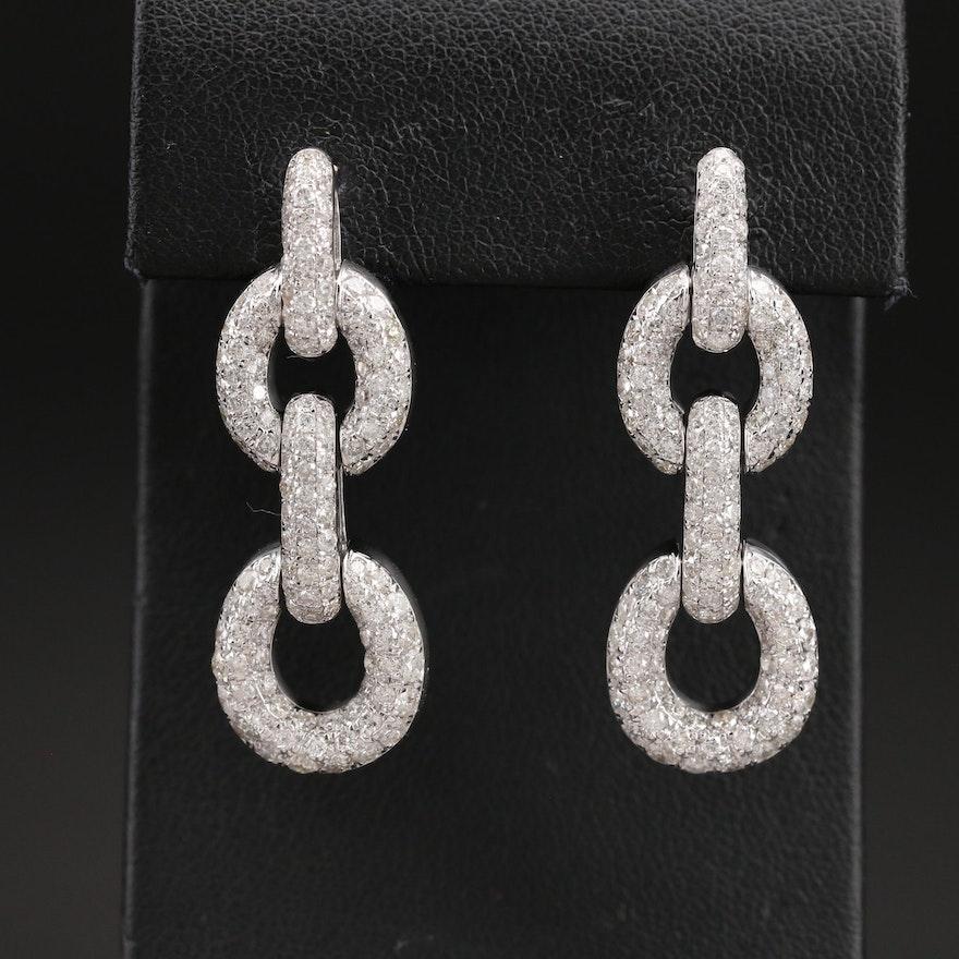 14K 4.64 CTW Pavé Diamond Earrings