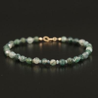 10K Moss Agate and Diamond Bead Bracelet