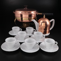 S.P.M. German Porcelain Tea Cups with Copper Chafing Dish and Teapot