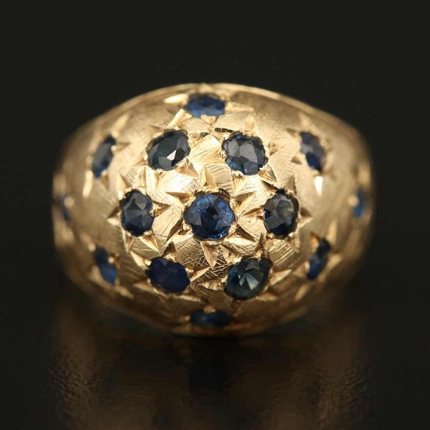 14K Sapphire Dome Ring