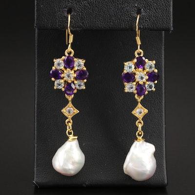 Sterling Baroque Pearl, Amethyst and Sky Blue Topaz Earrings