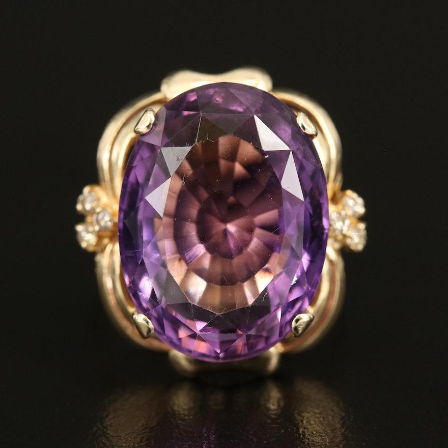 14K 18.38 CT Amethyst and Diamond Ring