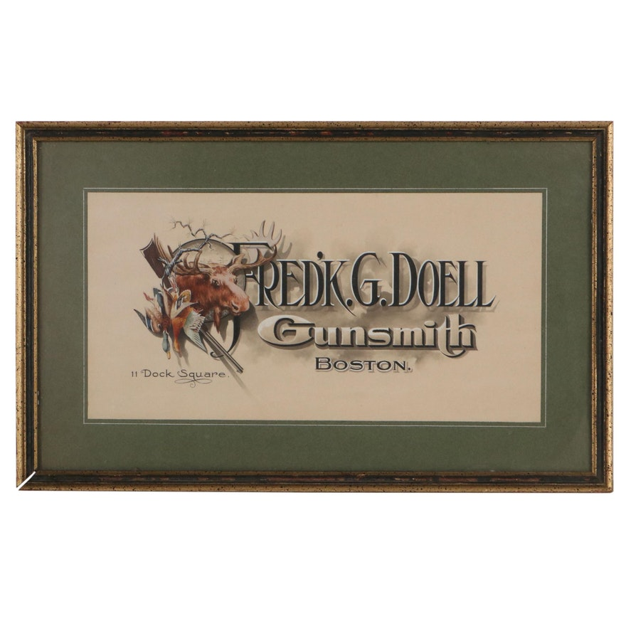 Gouache Advertisement Illustration for Fred'K G Doell Gunsmith