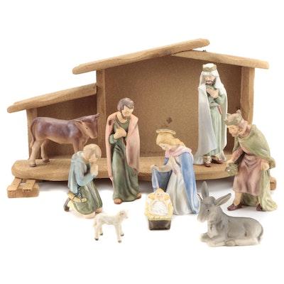Goebel Nativity Porcelain Figurines with Wooden Barn