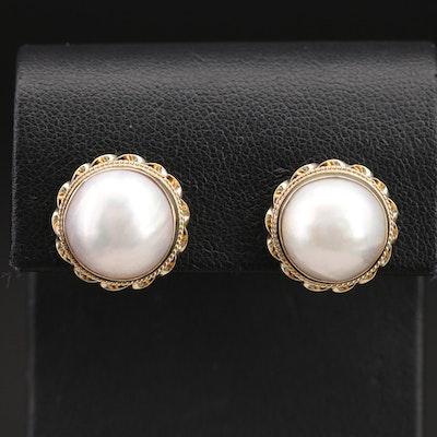 14K 13.50 mm Mabé Pearl Button Earrings
