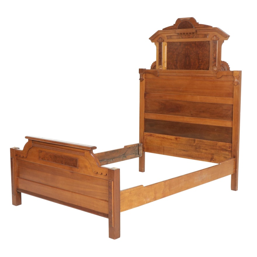 Victorian Walnut Full size Bed Frame, Early 20th Century