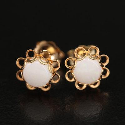 14K Opal Stud Earrings