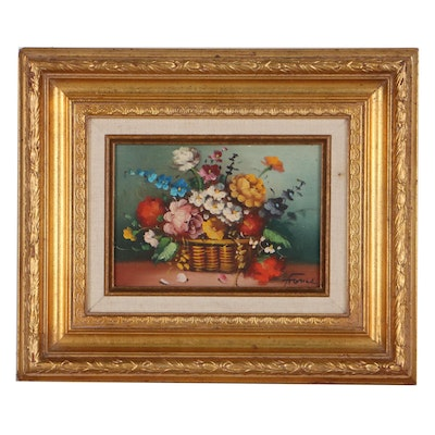 Still Life Oil Painting of Flowers, Late 20th Century