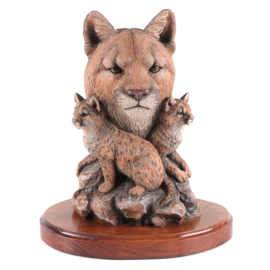 """Debbe Edwards Carved Basswood Sculpture """"Mountain Lion Family"""""""