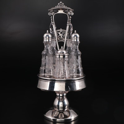 Victorian Silver Plate and Etched Glass Castor Set