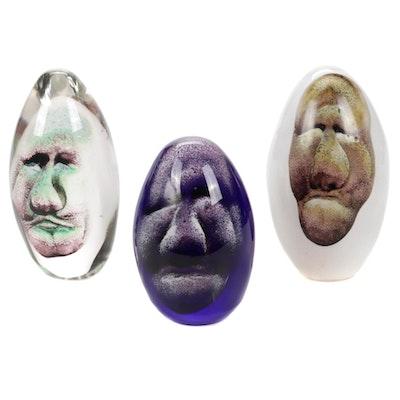 Andy Hudson Handblown Art Glass Face Paperweights, 2013